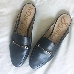 Black Leather Mule Loafer